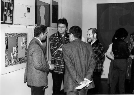 Od lewej artyści Tomasz Jaśkiewicz, Krystyn Zieliński, Jan Łukasik, tyłem Ryszard Stanisławski
