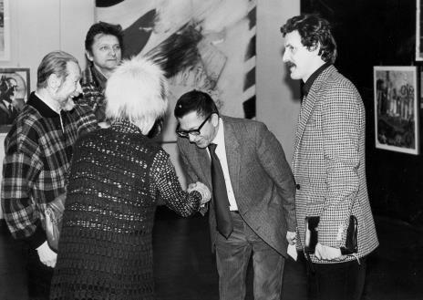 Od lewej Jan Łukasik, Krystyn Zieliński, dyr. Ryszard Stanisławski, Wojciech Karolak