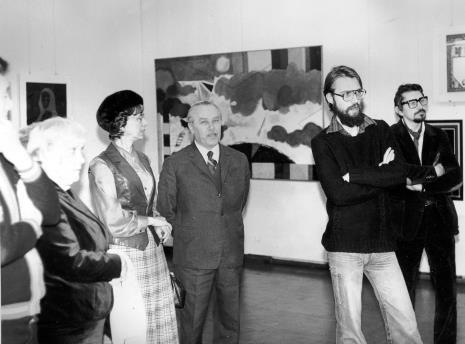 Druga od lewej Krystyna Bobrowska (Teatr Nowy w Łodzi), Ryszard Brudzyński (wicedyrektor ms), x, Jerzy Treliński