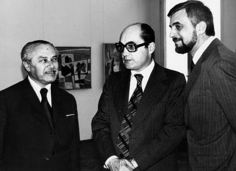 Od lewej Ryszard Brudzyński (wicedyrektor ms) i Zbigniew Polit i J. Morawiec (wiceprezydenci m. Łodzi)