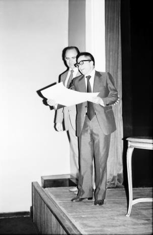 Spotkanie w Teatrze Nowym w Łodzi, dyr. Bogdan Rymaszewski (Ministerstwo Kultury i Sztuki) i dyr. Ryszard Stanisławski (ms)