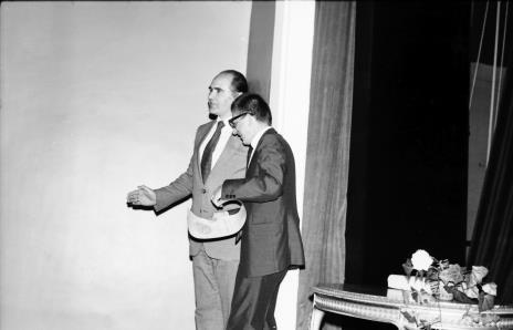 Spotkanie w Teatrze Nowym w Łodzi, dyr. Bogdan Rymaszewski (Ministerstwo Kultury i Sztuki) i dyr. Ryszard Stanisławski