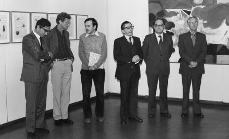 Od lewej dyrektor The British Council, Derek Boshier, Janusz Wróblewski (tłumacz), dyr. Ryszard Stanisławski, Zbigniew Polit (wiceprezydent Łodzi), przedstawiciel The British Council