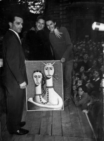 od lewej Henryk Abbe i zdobywca III nagrody w konkursie Zgaduj Zgadula, x