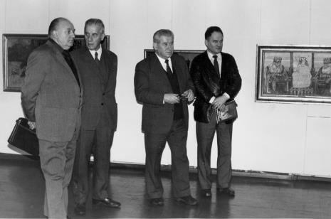 Od lewej Zdzisław Konicki (Archiwum Państwowe), x, płk. Mieczysław Gwizdka (TPSP w Łodzi), red. Henryk Pawlak (Głos Robotniczy)