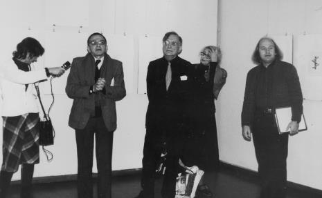 Od lewej red. Krystyna Namysłowska (Polskie Radio), dyr. Ryszard Stanisławski (ms), Oskar Reutersvärd z żoną, Zenon Kulpa