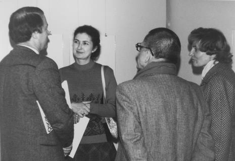 Od lewej dyr. Ryszard Czubaczyński (Estrady Łódzkiej), Ewa Marciniak (KŁ PZPR), dyr. Ryszard Stanisławski (ms), B. Regut (KD PZPR)