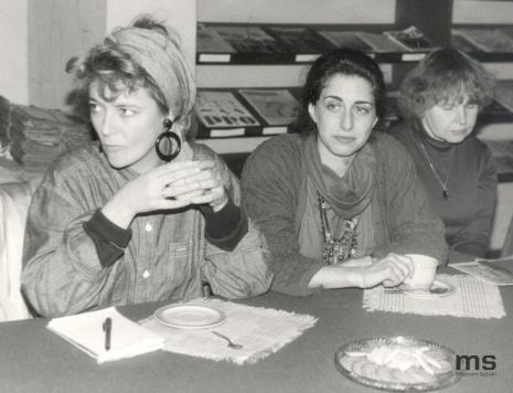 Od lewej x, Elisabeth Lepin, Janina Ładnowska (Dział Sztuki Nowoczesnej)