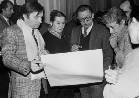 Na pierwszym planie Zygmunt Krauze, Krystyna Krygier, dyr. Ryszard Stanisławski (ms), Nika Strzemińska