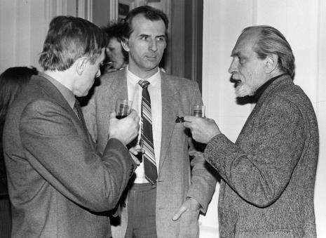 Od lewej Grzegorz Kacprzak (wicedyrektor ms), x, Wiesław Nowak (ASP w Warszawie)