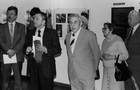 Od lewej Aleksander Wilkanowski (kierownik Wydziału ds. Wyznań),  dyr. Ryszard Stanisławski (ms), Izaak Kersz (Gmina Wyznaniowa Żydowska w Łodzi)
