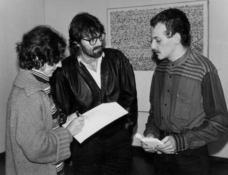 Od lewej red. Krystyna Namysłowska (Polskie Radio), Andrzej Szewczyk, Jan Trzupek (Galeria Krzysztofory w Krakowie)