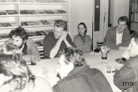 W głębi od lewej Marek Chlanda, Mirosław Bałka, Katarzyna Szymanek (Dział Naukowo - Oświatowy), Dariusz Bugalski (Dział Naukowo-Oświatowy)