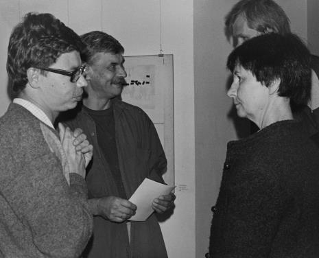 Od lewej artyści Mikołaj Smoczyński, Andrzej Smoczyński, Urszula Czartoryska (Dział Fotografii i Technik Wizualnych), Krzysztof J. Cichosz (Galeria FF w Łodzi)