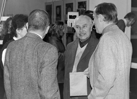 W środku Ryszard Brudzyński (były wicedyrektor ms), z prawej Grzegorz Kacprzak (były wicedyrektor ms) w rozmowie z Jadwigą Damazer (wicedyrektor ms) i dyr. Ryszardem Stanisławskim (ms)