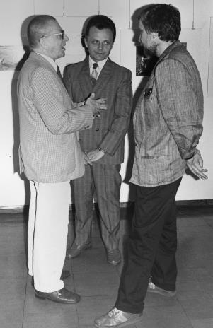 Od lewej dyr. Ryszard Stanisławski (ms), Janusz Urbaniak (wiceprezydent Łodzi), Lech Leszczyński (Rada Narodowa m. Łodzi)