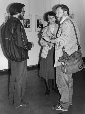 Od lewej Grzegorz Bojanowski (PWSSP w Łodzi), Urszula Czartoryska (Dział Fotografii i Technik Wizualnych), Andrzej Różycki (Szkoła Filmowa w Łodzi)