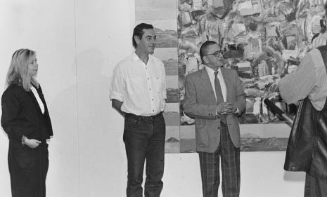 Od lewej komisarz wystawy Maria Morzuch (Dział Sztuki Nowoczesnej), Tomasz Ciecierski, dyr. Ryszard Stanisławski (ms)