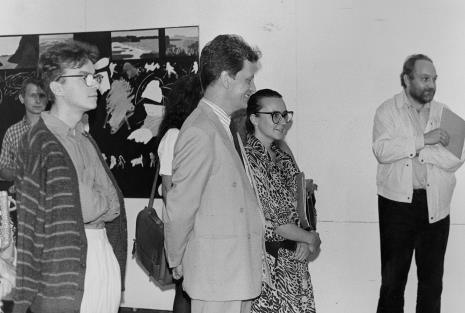 Od lewej malarz Włodzimierz Pawlak, Grzegorz Musiał (Galeria 86 w Łodzi), dyr. Jacek Piwkowski (Wydział Kultury UMŁ), x, x