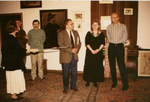 Od lewej red. Krystyna Namysłowska (Polskie Radio), x, x, dyr. Ryszard Stanisławski, Marta Ertman (Dział Sztuki Polskiej), dyr. Jaromir Jedliński