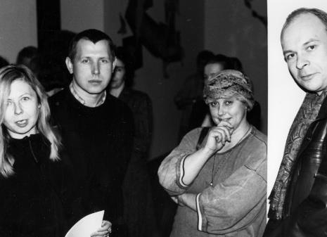 Od lewej Maria Morzuch (Dział Sztuki Nowoczesnej), malarz Włodzimierz Pawlak, Ewa Mikina (CSW w Warszawie), red. Maciej Maciejewski (Dziennik Łódzki)