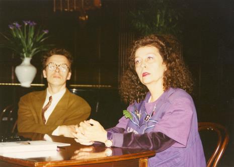 Od lewej Grzegorz Musiał (Galeria 86 w Łodzi) i Isabelle Colin Dufresne - Ultra Violet
