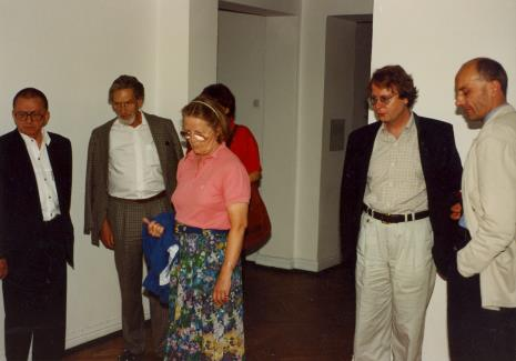 Od lewej Ryszard Stanisławski, x, x, Agnieszka Lulińska, dyr. Christoph Brockhaus (Duisburger Wilhelm Lehmbruck Museum), dyr. Jaromir Jedliński (ms)