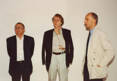 Od lewej Ryszard Stanisławski, dyr. Christoph Brockhaus (Duisburger Wilhelm Lehmbruck Museum), dyr. Jaromir Jedliński (ms)
