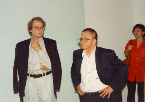 Od lewej dyr. Christoph Brockhaus (Duisburger Wilhelm Lehmbruck Museum), Ryszard Stanisławski, Agnieszka Lulińska