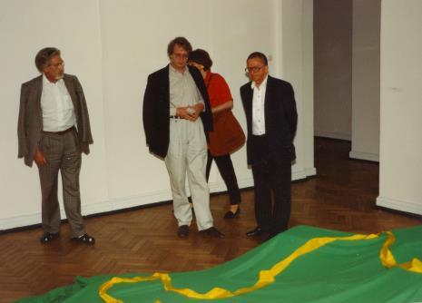 Od lewej x, dyr. Christoph Brockhaus (Duisburger Wilhelm Lehmbruck Museum), Agnieszka Lulińska, Ryszard Stanisławski