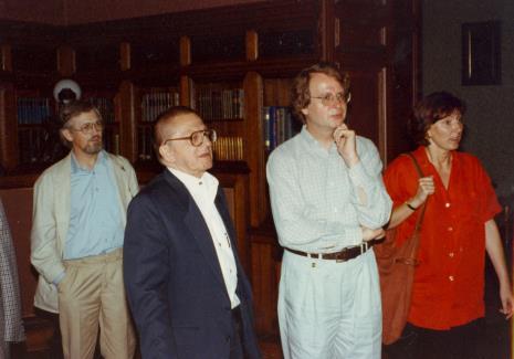 Od lewej artysta Edward Łazikowski, Ryszard Stanisławski, Dyr. Christoph Brockhaus (Duisburger Wilhelm Lehmbruck Museum), Agnieszka Lulińska