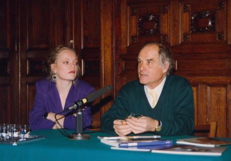 Konferencja prasowa w sali odczytowej ms, Gerdie Verschoor (ambasada Holandii), Carel Visser