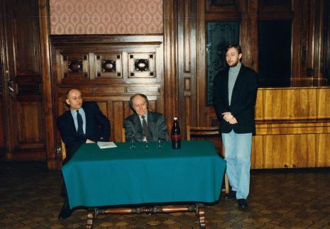 Konferencja prasowa w sali odczytowej ms, dyr. Jaromir Jedliński, Stanislav Kolibal, Artur Zaguła (Dział Rysunku i Grafiki Nowoczesnej)