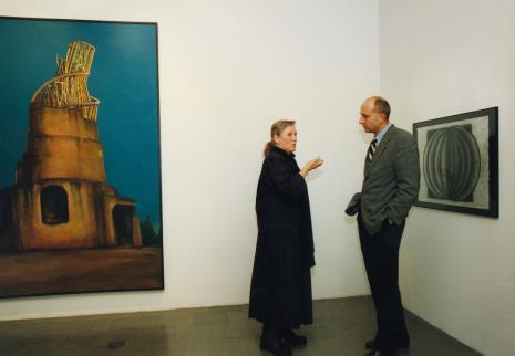 Barbara Gostomska w rozmowie z dyr. Jaromirem Jedlińskim (ms)