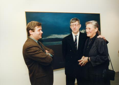 Od lewej Lech Stangret, malarz Andrzej Wełmiński (Teatr Cricot 2 w Krakowie), Barbara Gostomska