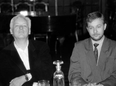 Michael Craig-Martin i komisarz wystawy Artur Zaguła (Dział Rysunku i Grafiki Nowoczesnej)