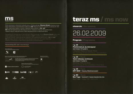 [Zaproszenie] Teraz ms/ms now. Otwarcie/ the opening. 26.02.2009. program/programme […]