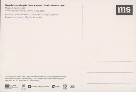 [Kartka pocztowa] Marysia Lewandowska; Czułe Muzeum/ Tender Museum. Foto: Ryszard Stanisławski i Urszula Czartoryska, lata 60.