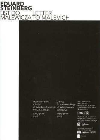 [Ulotka] Eduard Steinberg List do Malewicza/ Letter to Malewicz [...]