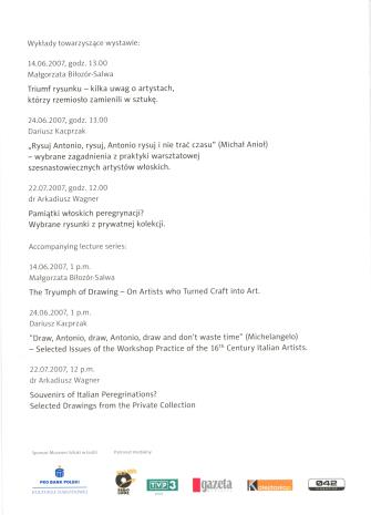 [Zaproszenie] Między teorią a praktyką. Rysunek włoski XVI ze zbiorów Gabinetu Rycin Biblioteki Uniwersyteckiej w Warszawie. [...]