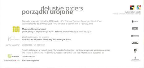 [Zaproszenie] Porządki urojone./ Delusive orders. [...]