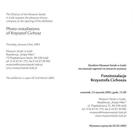 [Zaproszenie] Fotoinstalacje Krzysztofa Cichosza./ Photo-installations of Krzysztof Cichosz.