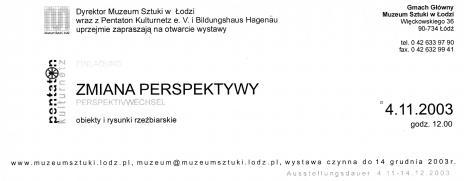 [Zaproszenie] Zmiana perspektywy/ Perspektivwechsel. Obiekty i rysunki rzeźbiarskie. [...]