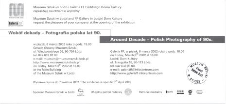 [Zaproszenie] Wokół dekady-Fotografia polska lat 90 / Around Decade-polish photography of 90s. [...]