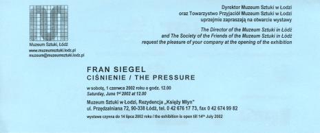 [Zaproszenie] Fran Siegel. Ciśnienie/ The pressure [...]