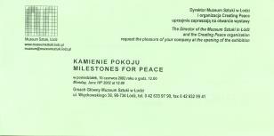 [Zaproszenie] Kamienie pokoju/ Milstones for Peace. [...]