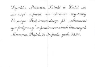 [Zaproszenie] Dyrektor Muzeum Sztuki w Łodzi ma zaszczyt zaprosić na otwarcie wystawy Cezarego Bodzianowskiego pt.