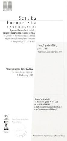 [Zaproszenie] Sztuka Europejska XIX i początku XX wieku. [...]