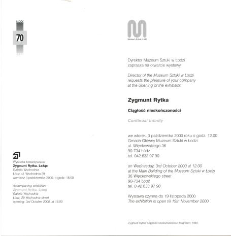 [Zaproszenie] Zygmunt Rytka. Ciągłość nieskończoności/ Continual infinity. [...]