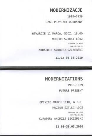 [Folder/Zaproszenie] Modernizacje 1918-1939. Czas przyszły dokonany./ Modernizations 1918-1939. Future present. […]